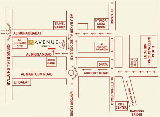 Location Avenue Hotel Dubai