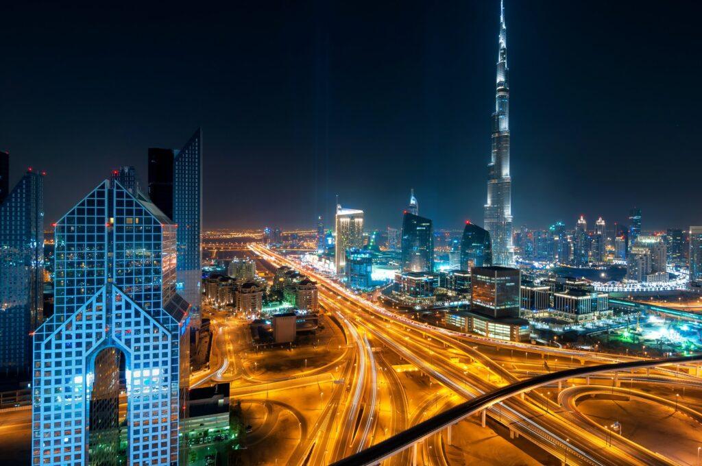 Night dubai downtown skyline with tallest skyscrapers and beautiful sky, Dubai, United Arab Emirates
